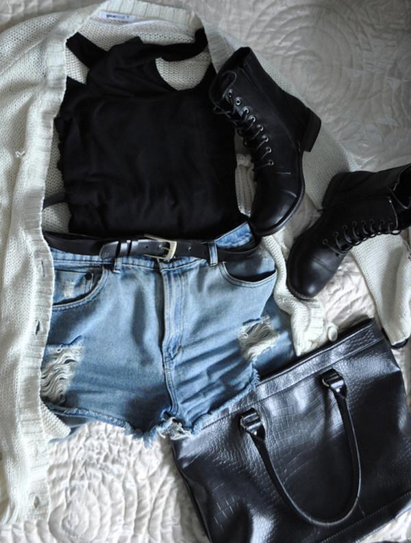 shoes black white cardigan shorts belt bag tank top combat boots