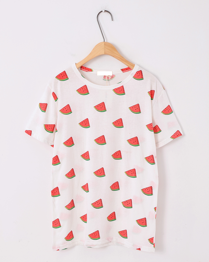 2014New Fashion Harajuku Style Women's Tees Watermelon Pattern Printing Loose Short T shirt Loose Fresh Women Tops Free Shipping-inT-Shirts from Apparel & Accessories on Aliexpress.com