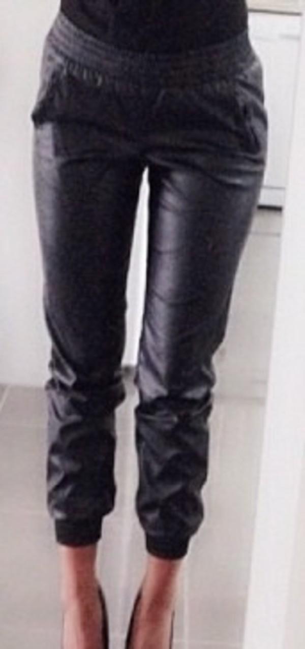 pants sweatpants leggings leather pants black jeggings joggers