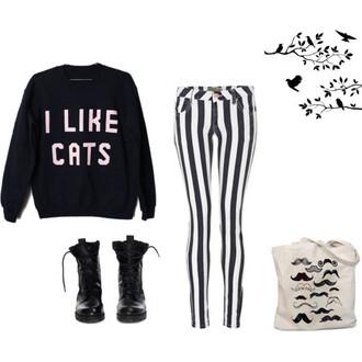 sweater pants boots bag moustache cats black white