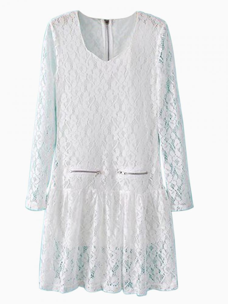 White Lace Through Out A-line Dress with Zipper Detail | Choies