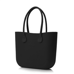 O bag in Black with Black Leather Handle