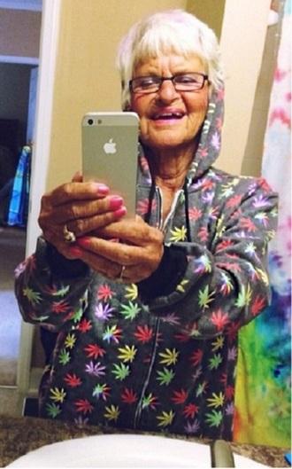 jacket allover hoodie winkle marijuana print pot leaf zip-up