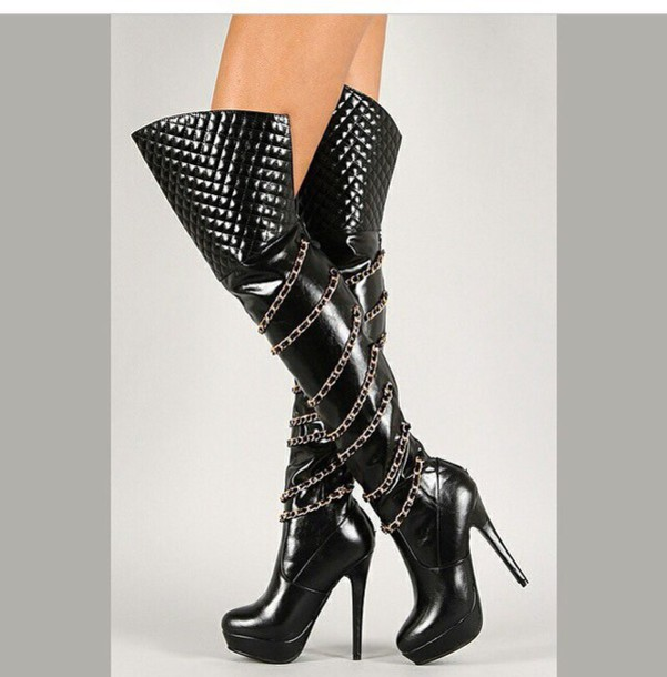 shoes boots knee high boots black boots black heels quilted boot chain high heels
