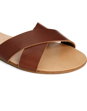 Pieces | Pieces Sara Leather Mocca Flat Sandals at ASOS