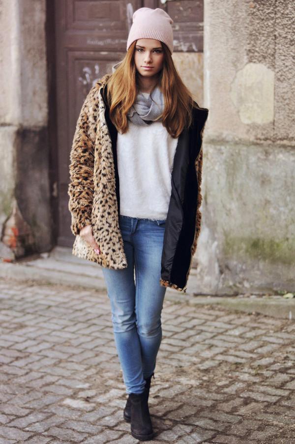 skinny liar coat sweater pants scarf hat shoes jewels