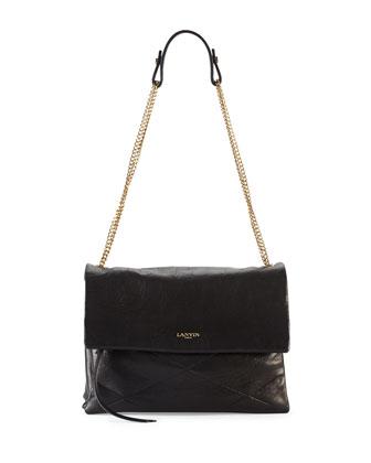Lanvin Sugar Lambskin Shoulder Bag, Black
