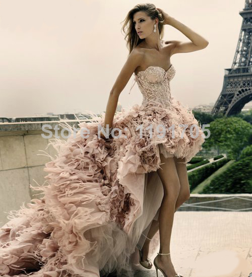 Aliexpress.com : Buy Free shipping Sweetheart Strapless Beaded Pink Prom dress 2014 High Low Floor Length Court Train Bridal Gowns 2014 New Fashion from Reliable gown ball suppliers on Bridalhot