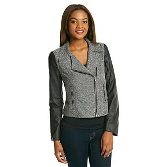 Product: Black Rainn™ Black Tweed And Faux Leather Moto Jacket