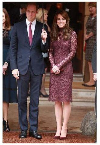dress lace dress burgundy midi dress kate middleton scarf shoes