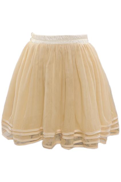 ROMWE | Layered Elastic Pleated Cream Bubble Skirt, The Latest Street Fashion