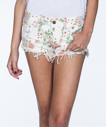 Billabong Women's Laneway Floral Denim Short - Ivory / Bone - Sport Chalet