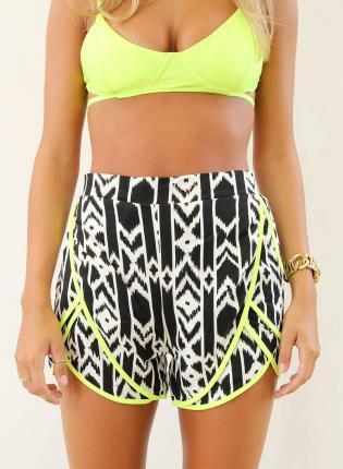 Multi Shorts - Black&White Print High Waist Shorts   UsTrendy