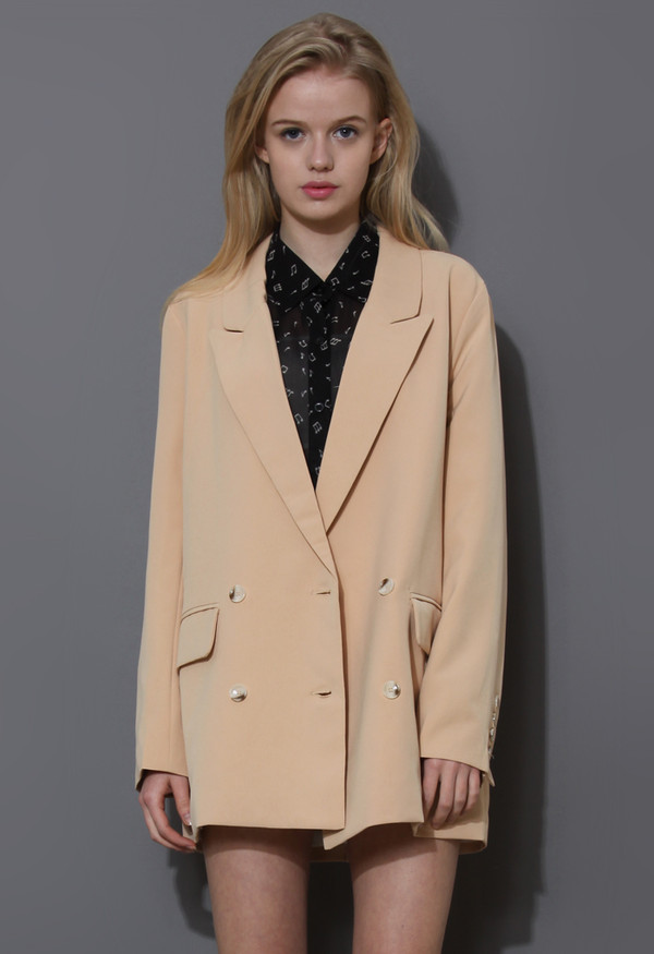 coat charms double breasted nude blazer