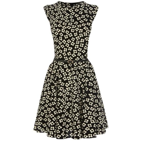 Oasis Daisy Print Skater Dress, Black/White - Polyvore