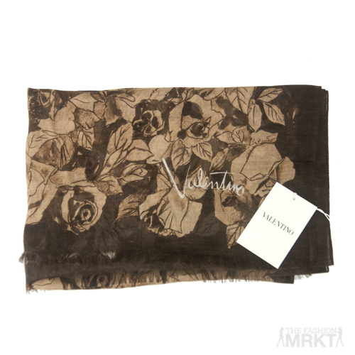 Valentino Authentic Modal & Cashmere Rose-Print Scarf / TheFashionMRKT