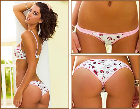 Wild Red flowers are the focus of this amazing white bikini print. Demi Underwire Top has maximum support. - TeenyB Bikini Couture