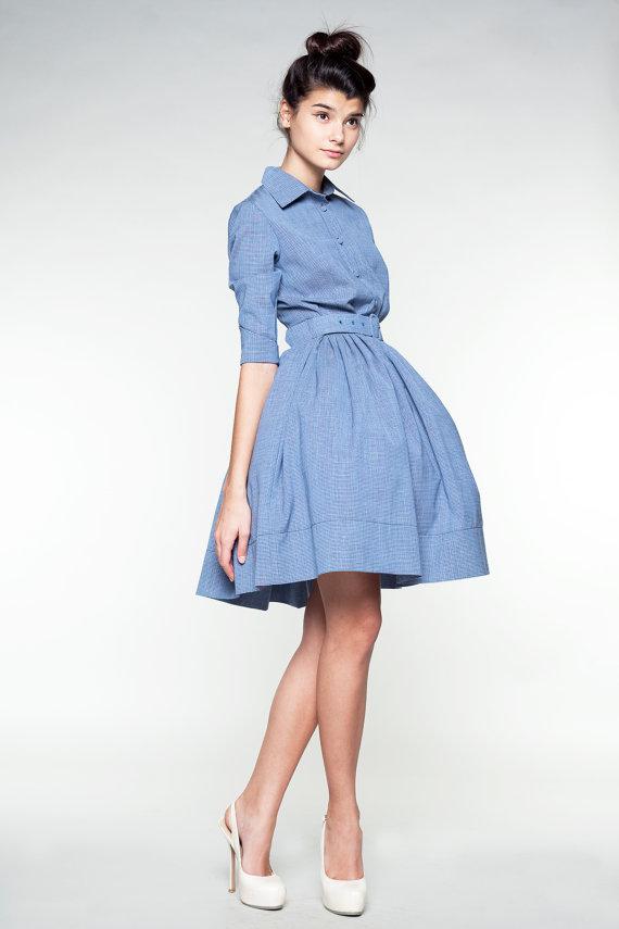 Blue Woolen Dress by Mrs Pomeranz от mrspomeranz на Etsy