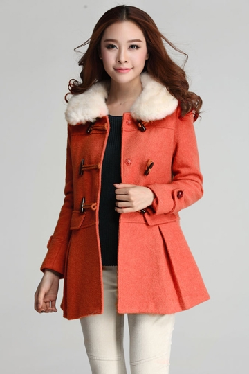 Pure Color Wool Toggle Coat with Fur Collar [FEBK0434]- US$79.99 - PersunMall.com