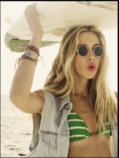 swimwear gillian zinser 90210 bikini striped bikini jacket sunglasses