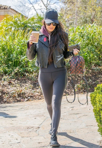 jacket leggings kourtney kardashian kardashians cap purse