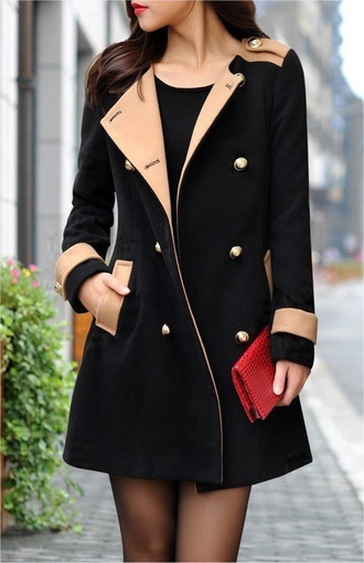 coat black tan military style coat women's trench coat fall outfits winter outfits