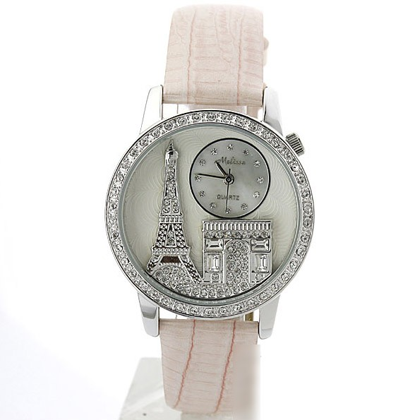 Original Melissa Brand Eiffel Tower Rhinestones Crystals Watch for women F1151123 Personalized Couples Gifts | His Her Necklaces and Bracelets | Engraved Wedding Rings | Couples Clothing