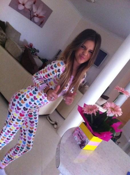 jumpsuit babygrow tumblr heart heart print onesie dress underwear colorful pajamas tight pajamas