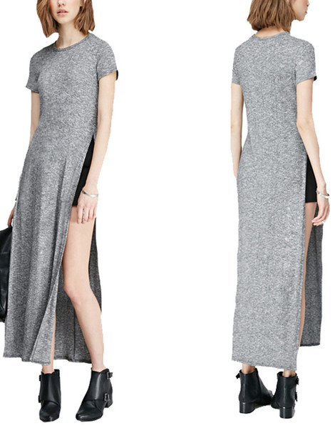Dress 2016 Summer Dress Slit Dress Side Split Skirts Side Split Maxi Dress Casual Dress Long Dress Short Sleeve Dress Elegant Long Dresses Custom Solid Dresses Basisc Style Vestidos Wheretoget