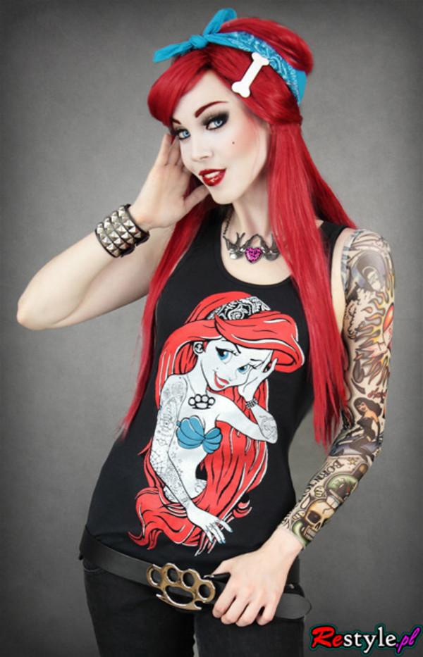 tank top black the little mermaid disney tattoo belt buckle inlove necklace bandana knuckle duster jewels studded wristband blue swallow neckless bandana