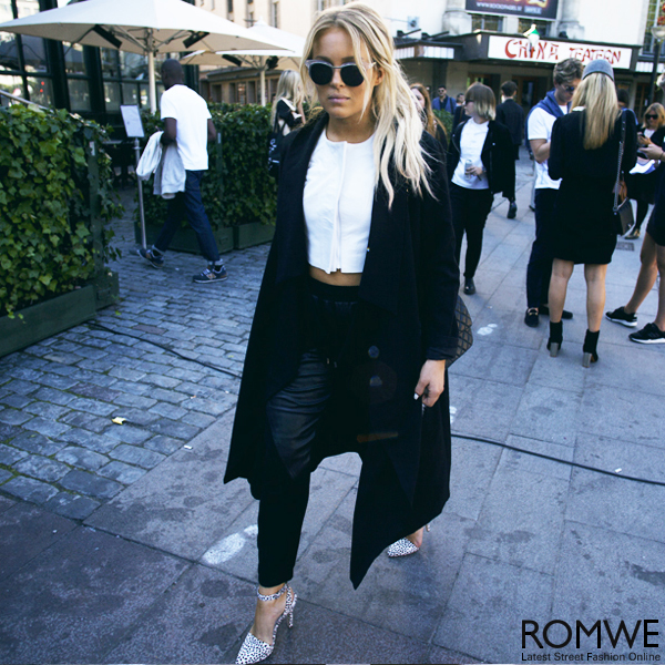 ROMWE | Longline Black Trench Coat, The Latest Street Fashion