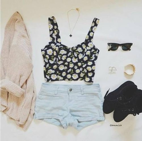 shirt pretty clothes flowers floral crop tops