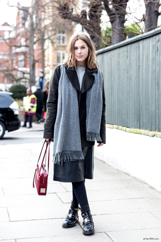 after drk coat sweater skirt shoes bag scarf