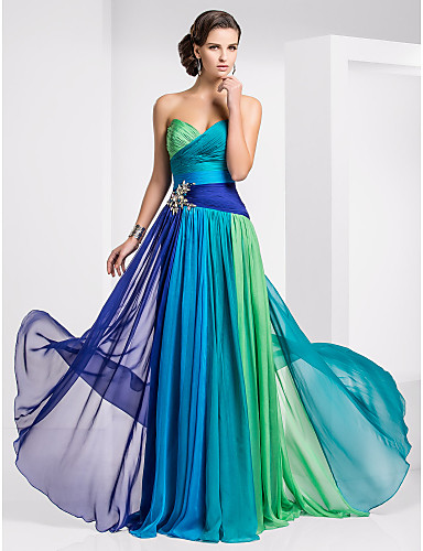 Buy Sweetheart Sheath/Column Floor-length Chiffon Ombre Evening Dresses Online Cheap Prices
