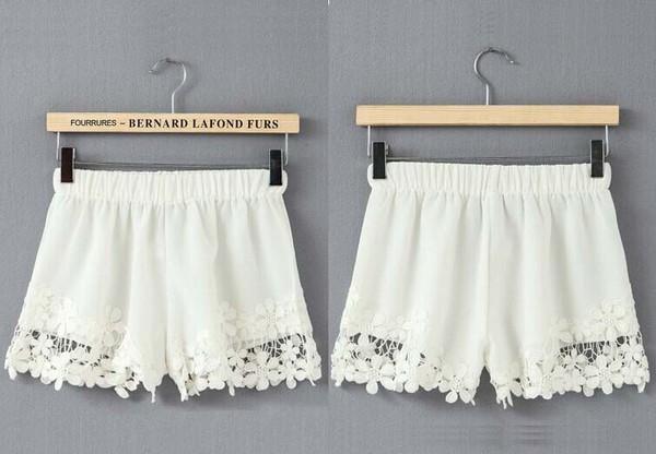 shorts hem lace lace shorts skirt bottoms fashion clothes