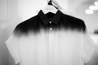 shirt dip dyed black white top button up menswear ombre white shirt black shirt polo shirt unisex ombre shirt collared shirt dye tie dye dyed cute dark blue blue black and white button button up shirt buttons cool nice collared dress collared shirts rolled sleeves short sleeve long sleeves blouse button-up top t-shirt
