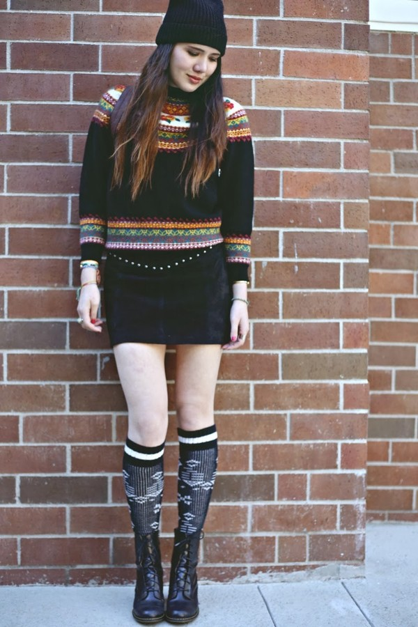 color me nana sweater skirt shoes hat