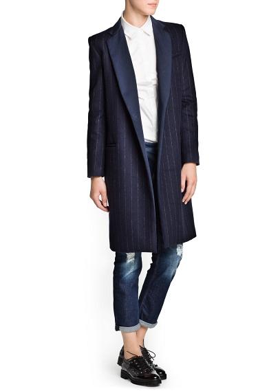 MANGO - CLOTHING - Pinstripe wool-blend coat