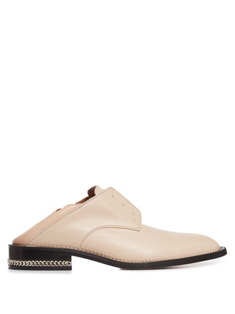 heel loafers leather nude shoes