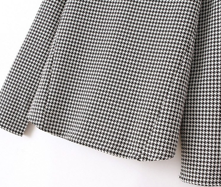 Black White Stand Collar Houndstooth Blouse - Sheinside.com