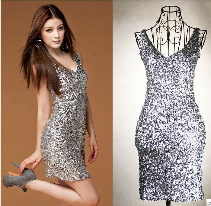 free shipping manufacturers supply new fashion Women's Sequins slim vest dress (MOQ: 1pc) #602 8816-in Dresses from Apparel & Accessories on Aliexpress.com