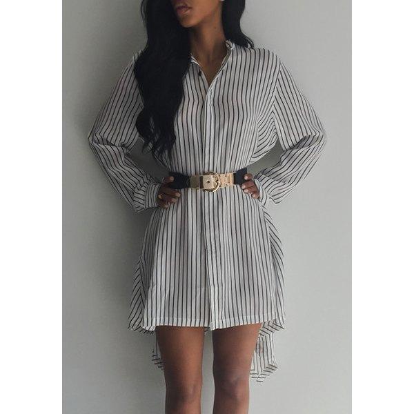 shirt dress, gold belt, oversized shirt, striped shirt, high low ...