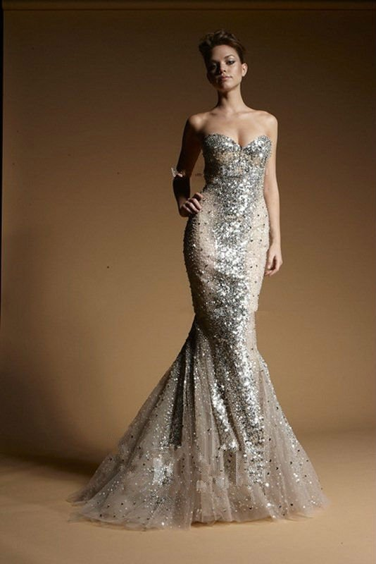 Aliexpress.com : Buy Silver Sequins In Nude Evening Gown From Zuhair Murad With Multi layered Fishtail Train from Reliable silver sequin mini skirt suppliers on Suzhou City Jinchang District Liya Lace Fabric Store