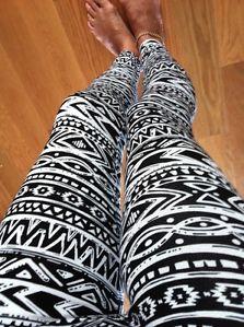 Black White Tribal Aztec Print Ankle Leggings Cotton s M L XL | eBay