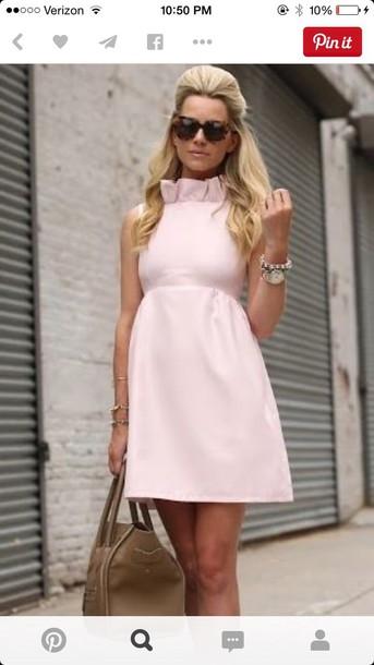 dress ruffle aline derbies light pink