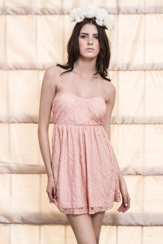 Total Flirt Lace Babydoll Dress-Pink | Obsezz