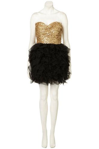 gold dress black dress ballerina