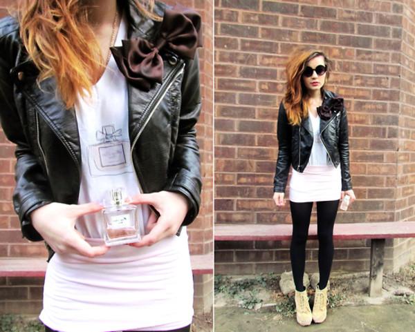 jacket dior mini skirt leather jacket motorcycle jacket bows round sunglasses t-shirt shoes skreened