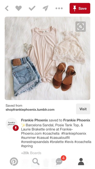 top bralette shirt shorts shoes pink white stripes