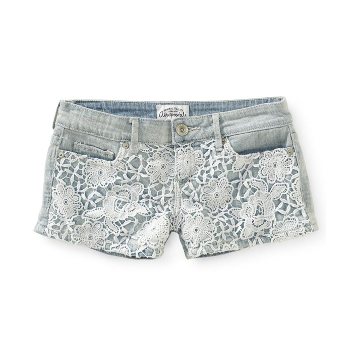 Aeropostale Juniors Lace Front Shorty Casual Denim Shorts 0377